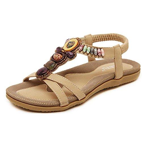 VJGOAL Damen Sandalen, Frauen Mädchen Böhmischen Mode Flache beiläufige Sandalen Strand Sommer Flache Schuhe Frau Geschenk (38 EU, U-Khaki)