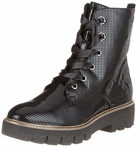 Tamaris Damen 25222-21 Combat Boots, Schwarz (Black Struct. 6), 37 EU