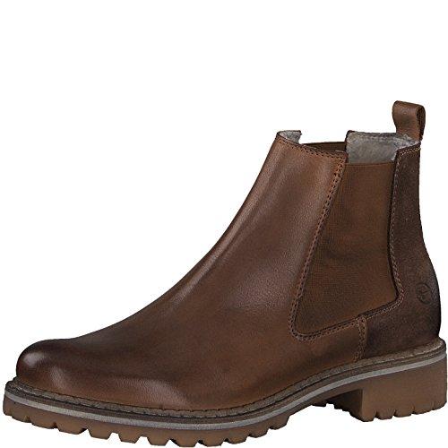 Tamaris Damen Chelsea Boots 25457-21,Frauen Stiefel,Halbstiefel,Stiefelette,Bootie,Schlupfstiefel,hoch,Blockabsatz 3cm,Cognac Comb,EU 42