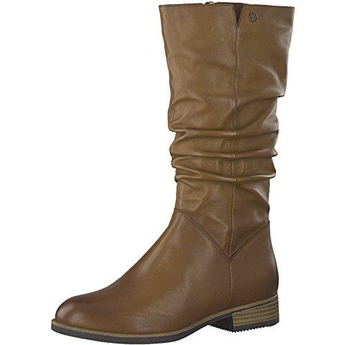 Tamaris Damen Stiefel 25345-21,Frauen Boots,Reißverschluss,Blockabsatz 3cm,Muscat,EU 38