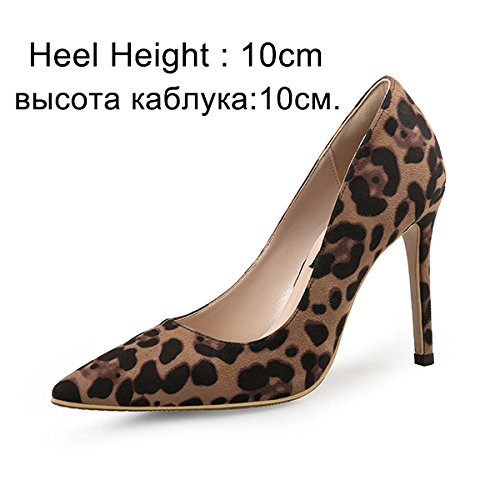 VIVIOO Pumps,Damen Pumpsfrauen Pumps High Heels Schuhe   Leopard Dünne Fersen Frau Party Schuhe Plus Größe Spitz Single Weibliche Pumpen 45, Basic 10 cm, 9