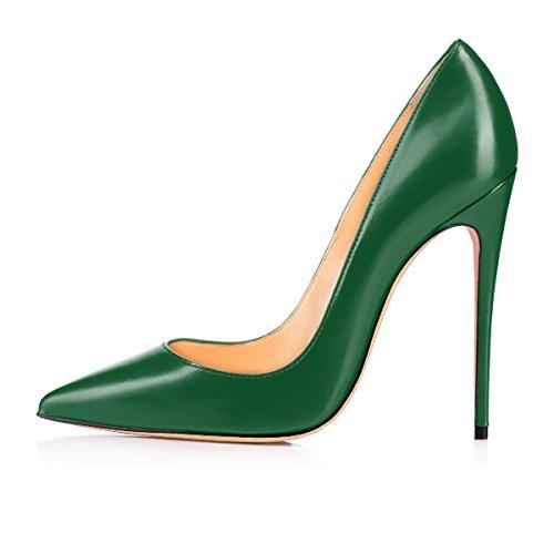 uBeauty Damen High Heels Stilettos Slip-on Sexy Pumps Spitze Zehen Klassischer PU Schuhe 120MM Heels Pumps Grün 36 EU