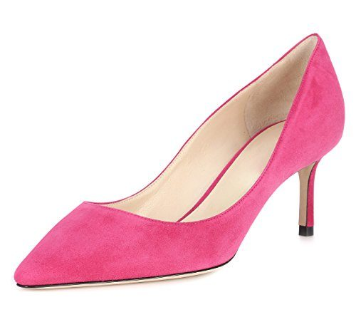 uBeauty Damen High Heels Wildleder Stilettos Slip-On Pumps Spitze Zehen Klassischer Übergröße Schuhe 65MM Heels Pumps Pink 40 EU