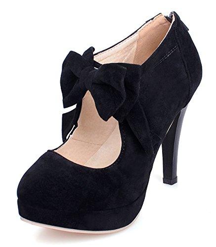 uBeauty Damen Mary Jane Pumps Bowknot Reißverschluss Schuhe High Heels Pumps mit Plateau Schwarz 39 EU