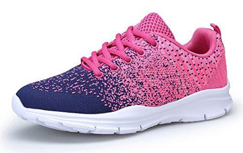 KOUDYEN Damen Laufschuhe Atmungsaktiv Turnschuhe Schnürer Sportschuhe Sneaker (EU42, Pink Blau)