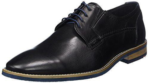 LLOYD Herrenschuh KASSAN, moderner Halbschuh aus Leder in Extra-Weit und mit Gummisohle, Schwarz (Schwarz/Blue), 40 EU