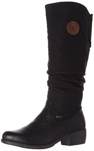Rieker 93157 Damen Winterstiefel,Winter-Boots,Fellboots,Fellstiefel,gefüttert,warm,Reißverschluss,schwarz,37 EU