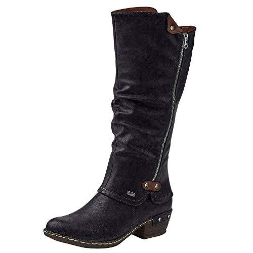 Rieker 93655 Damen Winterstiefel,Winter-Boots,Fellboots,Fellstiefel,gefüttert,warm,Reißverschluss,schwarz,41 EU