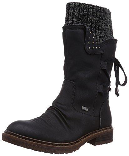 Rieker 94773 Damen Winterstiefel,Winter-Boots,Fellboots,Fellstiefel,gefüttert,warm,Reißverschluss,schwarz,40 EU