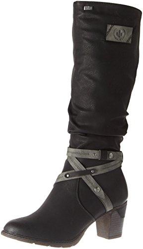 Rieker 96054 Damen Stiefel, Schaftstiefel, Boot, Warmfutter, Tex schwarz Kombi (schwarz/Smoke / 00), EU 39