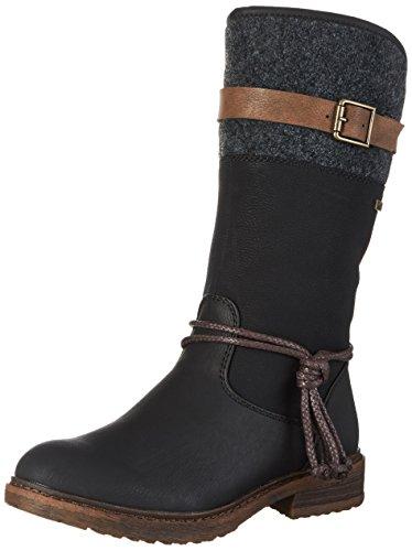 Rieker Damen Klassische Stiefel 94778,Frauen Boots,Reißverschluss,Blockabsatz 3.8cm,schwarz/schwarz/braun/anthrazit, EU 38