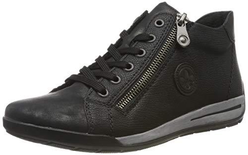 Rieker Damen M3044-90 Hohe Sneaker, Metallic Schwarz 90, 39 EU